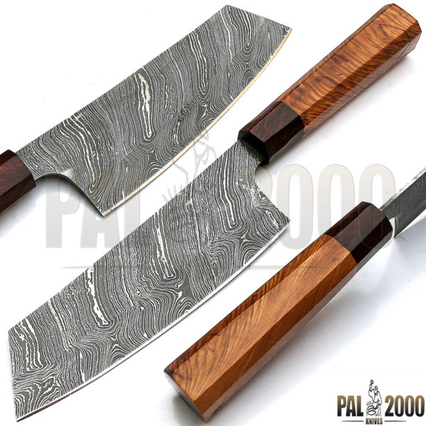 Custom Handmade Damascus Steel Blade Chef Kitchen Knife Olive Wood and Rose  Wood 12 Inches with Leather Sheath 9283