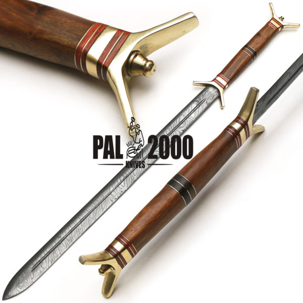 30 inches Damascus steel sword Handmade Damascus wiking sword  Hand forged Damascus sword with leather sheath