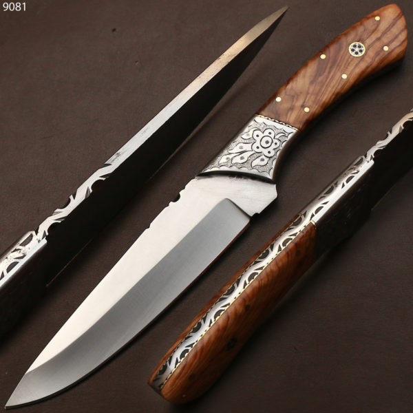 Custom Handmade D2 Steel Blade Chef Kitchen Knife Olive Wood Handle 11  inches with Leather Sheath 9081